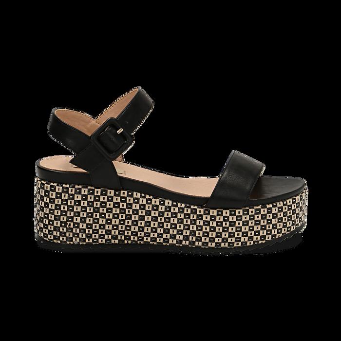 Sandali platform neri in eco-pelle, zeppa intrecciata 6,50 cm , Primadonna, 134938301EPNERO