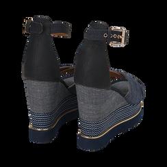 Sandali jeans in tessuto, zeppa 11 cm, Primadonna, 154422213TSJEAN036, 004 preview