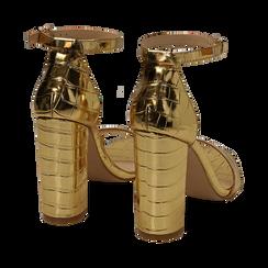 Sandali oro stampa cocco, tacco 10,50 cm, Primadonna, 152706086CCOROG, 004 preview