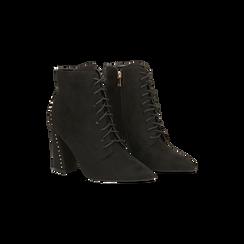 Tronchetti neri con mini-borchie e stringhe, tacco 9 cm, Primadonna, 120381111MFNERO, 002 preview