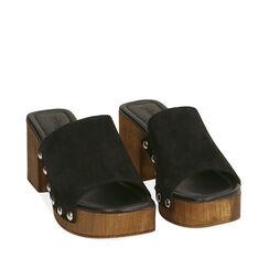 Sandales en daim noir, talon de 7,5 cm, 174304850CMNERO035, 002a
