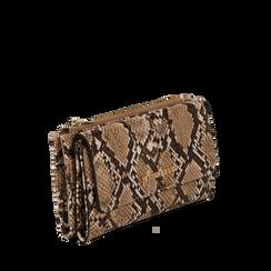 Portafogli beige in eco-pelle effetto snake skin, Borse, 132300002PTBEIGUNI, 002a
