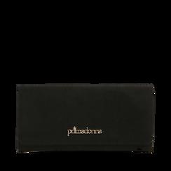 Portafogli nero in microfibra, Borse, 142200002MFNEROUNI, 001a