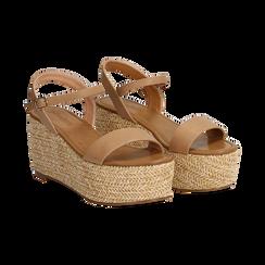 Sandali platform cuoio in eco-pelle, zeppa in corda 8 cm, Primadonna, 134983293EPCUOI035, 002 preview