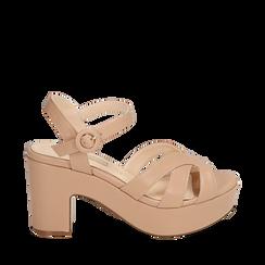 Sandali nude in microfibra, tacco zeppa 8,50 cm, Chaussures, 158480211EPNUDE036, 001a