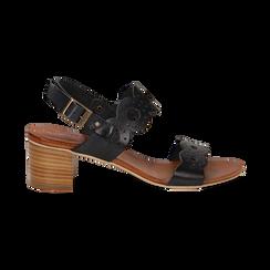 Sandali neri in vera pelle, tacco 5 cm, Saldi, 137272101VANERO035, 001