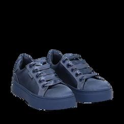 Sneakers celesti in tessuto, suola 4 cm, Scarpe, 142509512TSCELE036, 002a