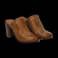 Mules cuoio in vera pelle, tacco 8 cm , Primadonna, 137725905PECUOI036, 002 preview