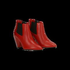Chelsea Boots rossi in vera pelle, tacco a cono 9 cm, Primadonna, 12D613910VIROSS035, 002