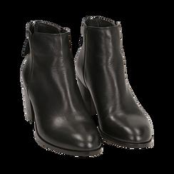 Ankle boots neri in pelle di vitello, tacco 6,50 cm, Primadonna, 15J492410VINERO035, 002 preview