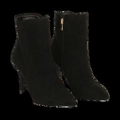 Ankle boots a punta neri in microfibra, tacco 8,5 cm , Stivaletti, 141764344MFNERO035, 002a