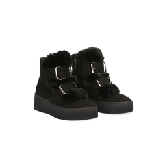 Scarponcini da neve neri con suola alta, Primadonna, 129306683MFNERO035, 002