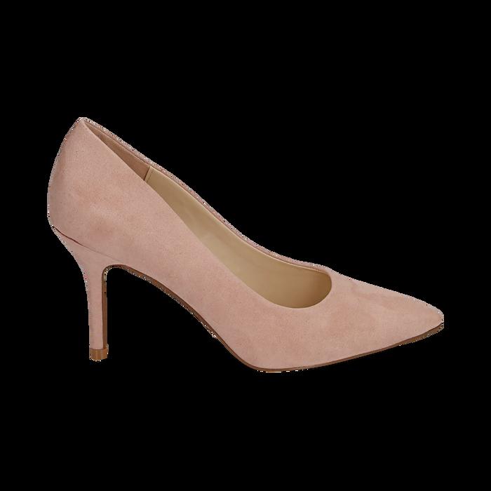 Décolleté en microfibra color nude, tacón 9 cm , Zapatos, 152182992MFNUDE036