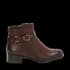 Ankle boots marroni in eco-pelle, tacco 4 cm , Scarpe, 143098118EPMARR036, 001a