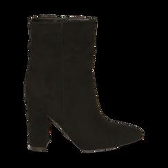 Ankle bottes en microfibre noir, talon 9,50 cm, Promozioni, 163026508MFNERO035, 001 preview