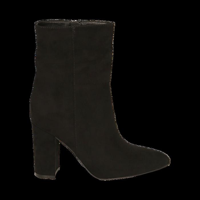 Ankle bottes en microfibre noir, talon 9,50 cm, Promozioni, 163026508MFNERO035