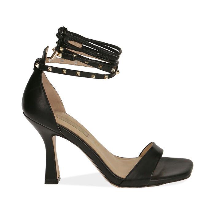 Sandali lace-up neri, tacco 10 cm , Primadonna, 172136530EPNERO035