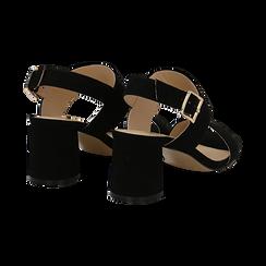 Sandali neri in microfibra con doppia fascia, tacco 7 cm , Sandali con tacco, 132182481MFNERO036, 004 preview