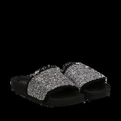 Ciabattine nere in pvc con glitter, Primadonna, 134700004GLNERO035, 002a