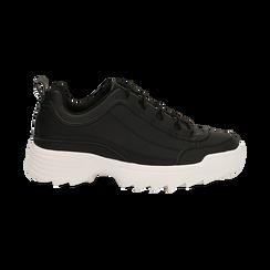 Dad shoes nere in eco-pelle con suola sagomata, Scarpe, 130101201EPNERO036, 001 preview