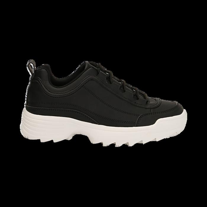 Dad shoes nere in eco-pelle con suola sagomata, Scarpe, 130101201EPNERO036