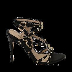 Sandali borchiati neri in eco-pelle, tacco 10,50 cm, Primadonna, 152131515EPNERO035, 001a