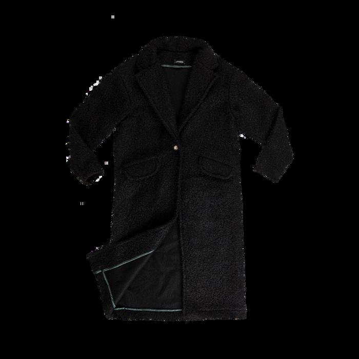 Cappotto lungo nero lavorazione shearling, Saldi, 12G750756TSNERO