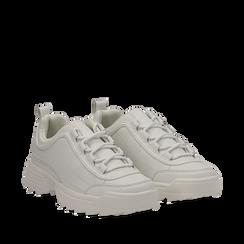 Dad shoes bianche in eco-pelle con suola sagomata, Scarpe, 130101201EPBIAN036, 002a