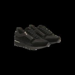 Sneakers nere velluto e dettagli metal, 120127903VLNERO036, 002