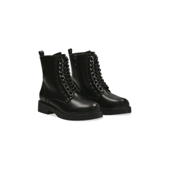 Anfibi neri con catenelle, tacco basso, 120618152EPNERO040, 002