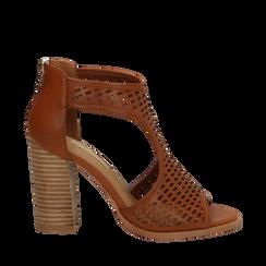 Sandali traforati cuoio in eco-pelle, tacco 9,50 cm, Scarpe, 133600002EPCUOI035, 001a