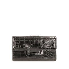 Portafogli nero stampa cocco, Primadonna, 185102538CCNEROUNI, 001a