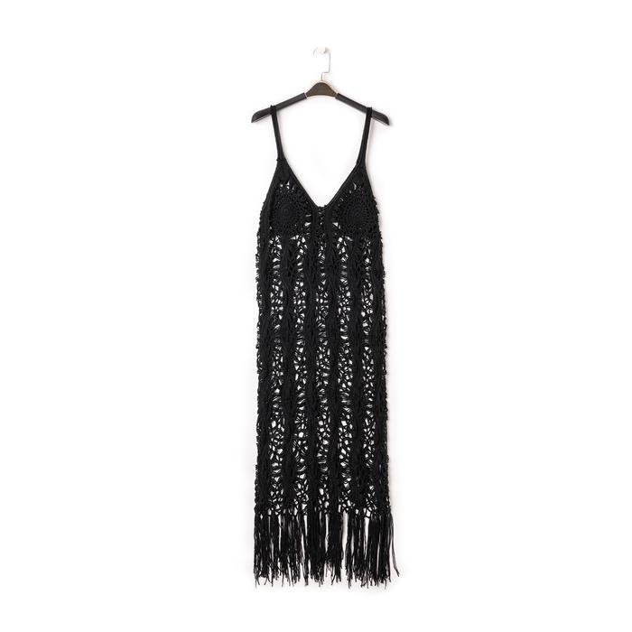 Mini-dress nero con lavorazione macramè, Primadonna, 13A345074TSNEROUNI