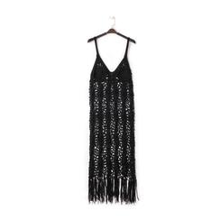 Mini-dress nero con lavorazione macramè, Primadonna, 13A345074TSNEROUNI, 001a