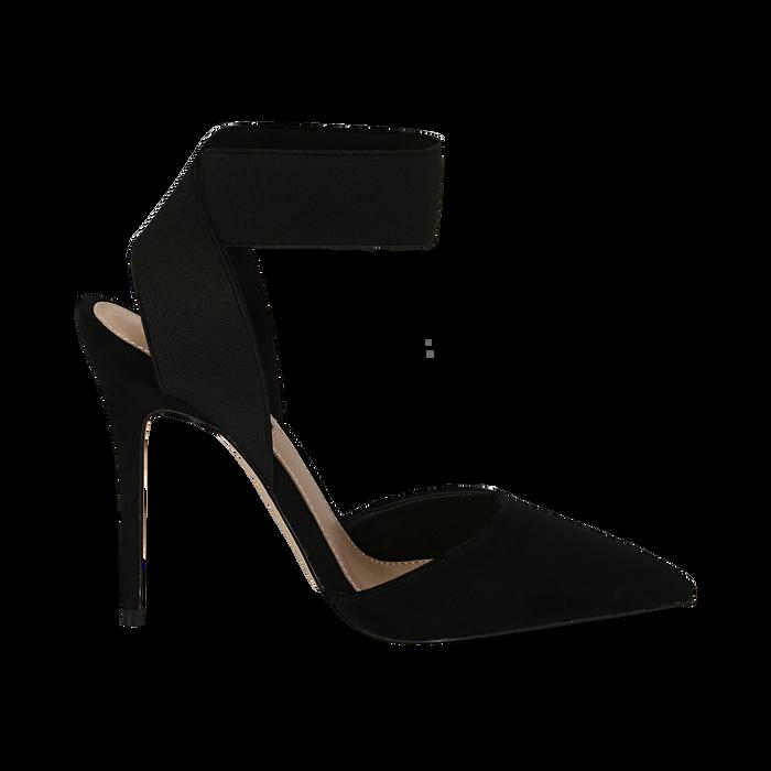 Slingback nere in microfibra, con cinturino elastico, tacco 11,50 cm, Primadonna, 131732354MFNERO036