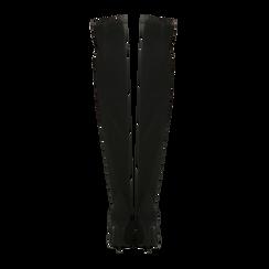 Stivali sopra il ginocchio neri in lycra, tacco 10 cm, Scarpe, 122187852LYNERO, 003 preview
