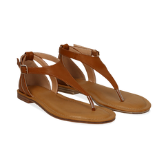 Sandali infradito cuoio in eco-pelle, Saldi Estivi, 134958215EPCUOI036, 002 preview
