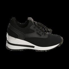 Sneakers nere in tessuto con zeppa, Primadonna, 152803421TSNERO036, 001 preview
