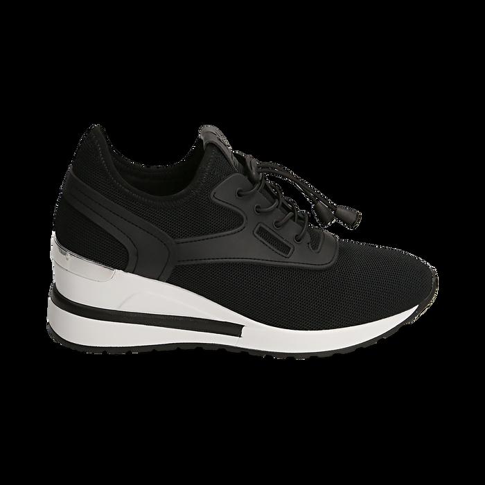 Sneakers nere in tessuto con zeppa, Primadonna, 152803421TSNERO036