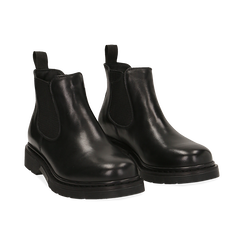 Chelsea boots neri in vera pelle,