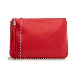 Bustina rossa in eco-pelle con profilo di mini-boules, Borse, 113308956EPROSSUNI, 001 preview
