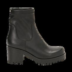 Biker boots neri in eco-pelle, tacco 7 cm , Primadonna, 142828200EPNERO038, 001a