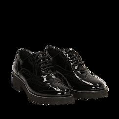 Stringate nere in vernice con lavorazione Duilio, Scarpe, 143055701VENERO036, 002a