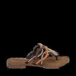 Ciabatte infradito testa di moro in raso , Chaussures, 15K808010RSMORO035, 001a