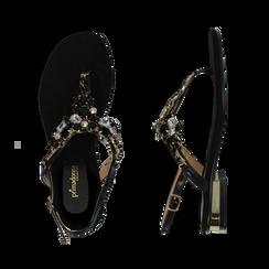 Sandali gioiello infradito neri in microfibra, Primadonna, 134994221MFNERO035, 003 preview