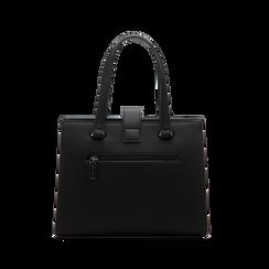 Mini bag nera in ecopelle, Saldi Borse, 125706683EPNEROUNI, 002 preview