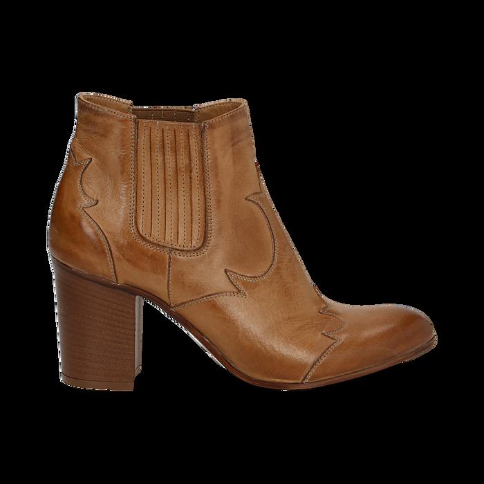 Ankle boots in pelle cuoio con banda elastica e tacco in legno 7,5 cm, Scarpe, 137725908PECUOI036