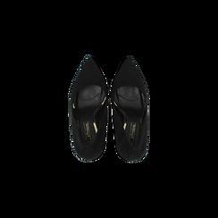 Décolleté nere con punta affusolata, tacco stiletto 11 cm, Scarpe, 122146861MFNERO, 004 preview