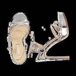 Sandali argento specchio con plateau, tacco stiletto 13 cm, Sandali con tacco, 132182183SPARGE035, 003 preview