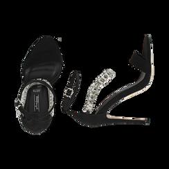 Sandali neri in microfibra con pietre, tacco 11,50 cm, OUTLET, 152101028MFNERO035, 003 preview